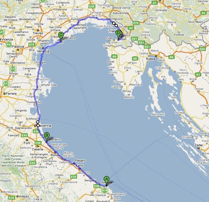 Zemljevid poti Ancona-Koper