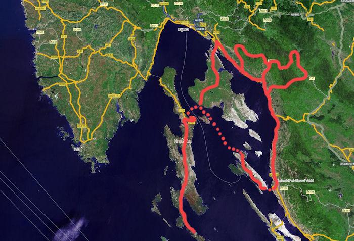 Zemljevid poti po Hrvaških otokih V Kvarnerju