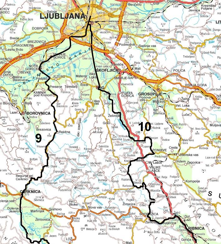 Zemljevid poti po Kolpi 1