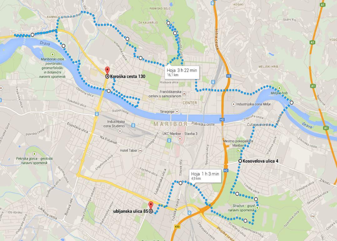 Pot kolesarskega izleta Maribor