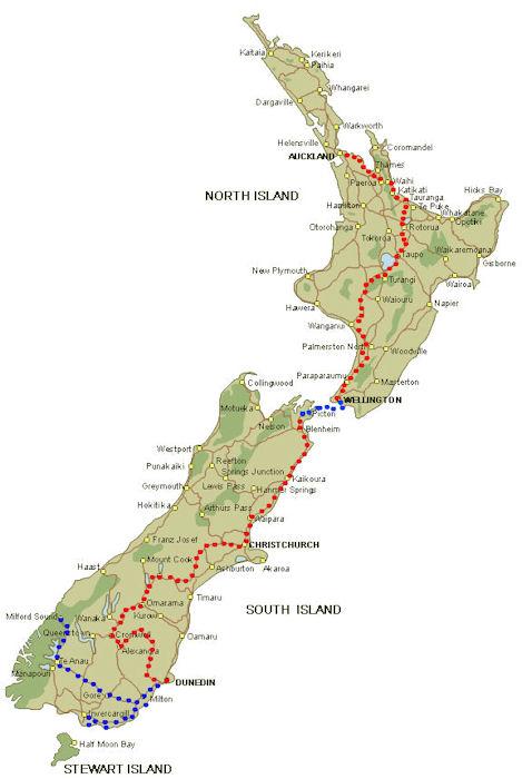 Karta poti po Novi Zelandiji
