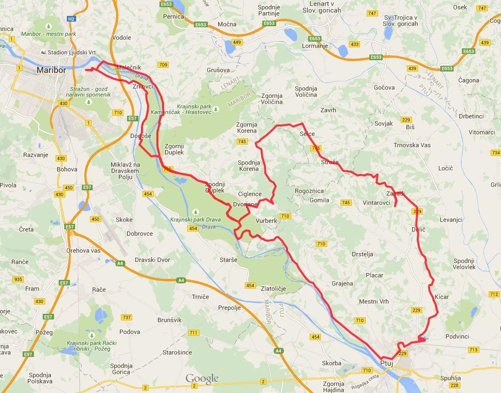 Pot kolesarskega izleta Ptuj in gorice