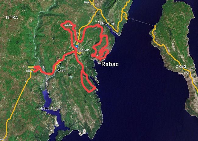 Zemljevid poti Rabac