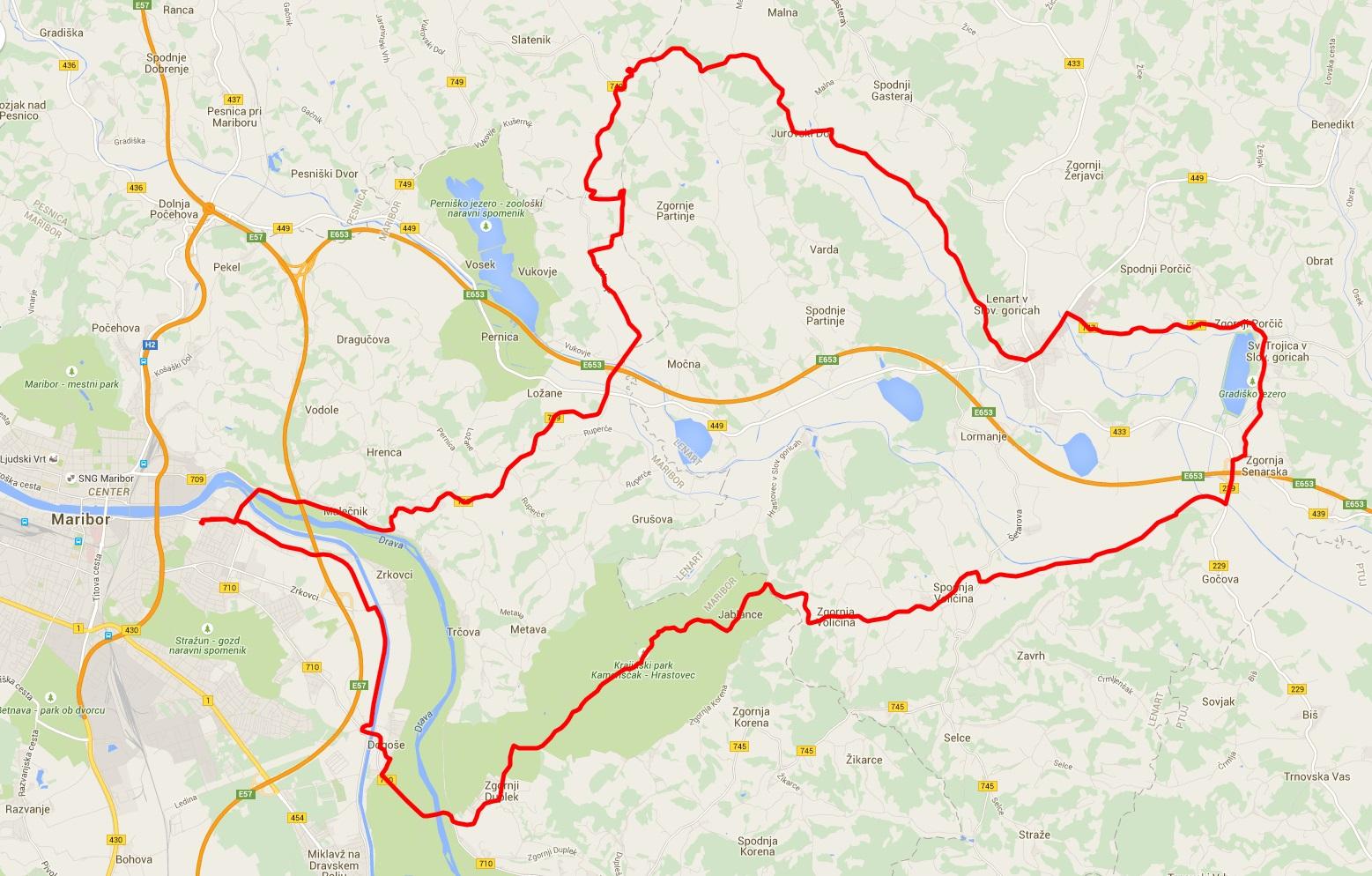 Pot kolesarskega izleta sv. Trojica
