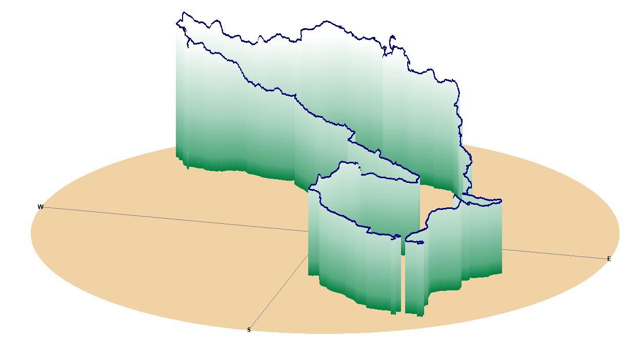 3D višinski profil kolesarskega izleta Slovenske gorice