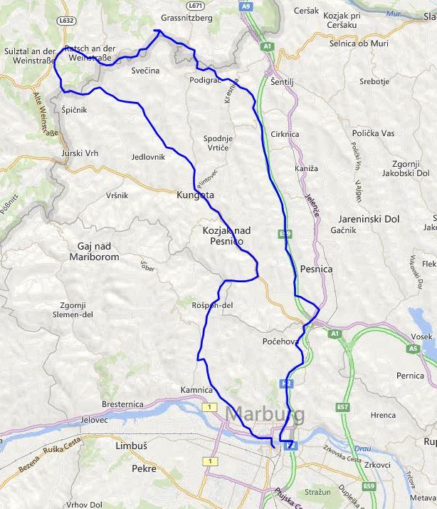 Pot kolesarskega izleta Slovenske gorice