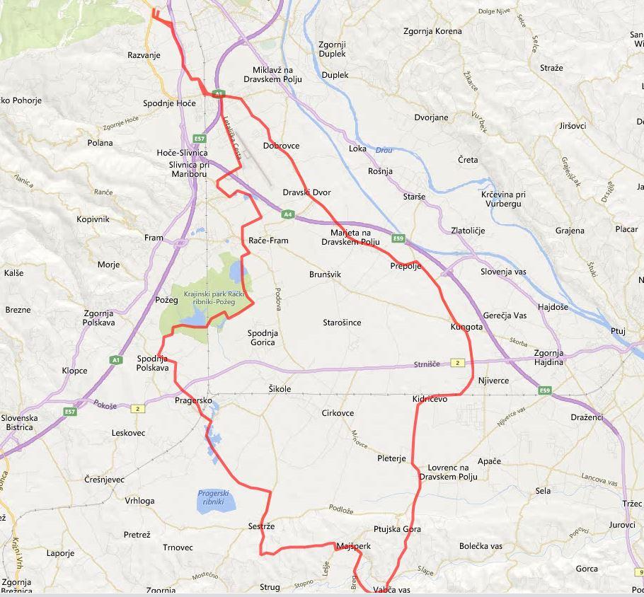 Pot kolesarskega izleta po dravski dolini
