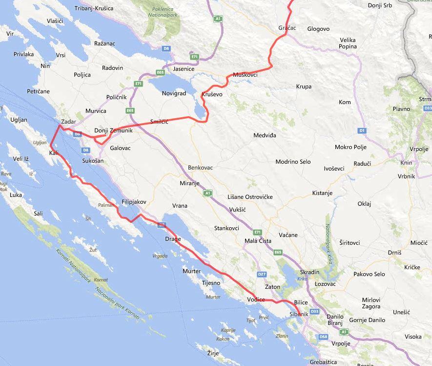 Zemljevid poti Plitvice