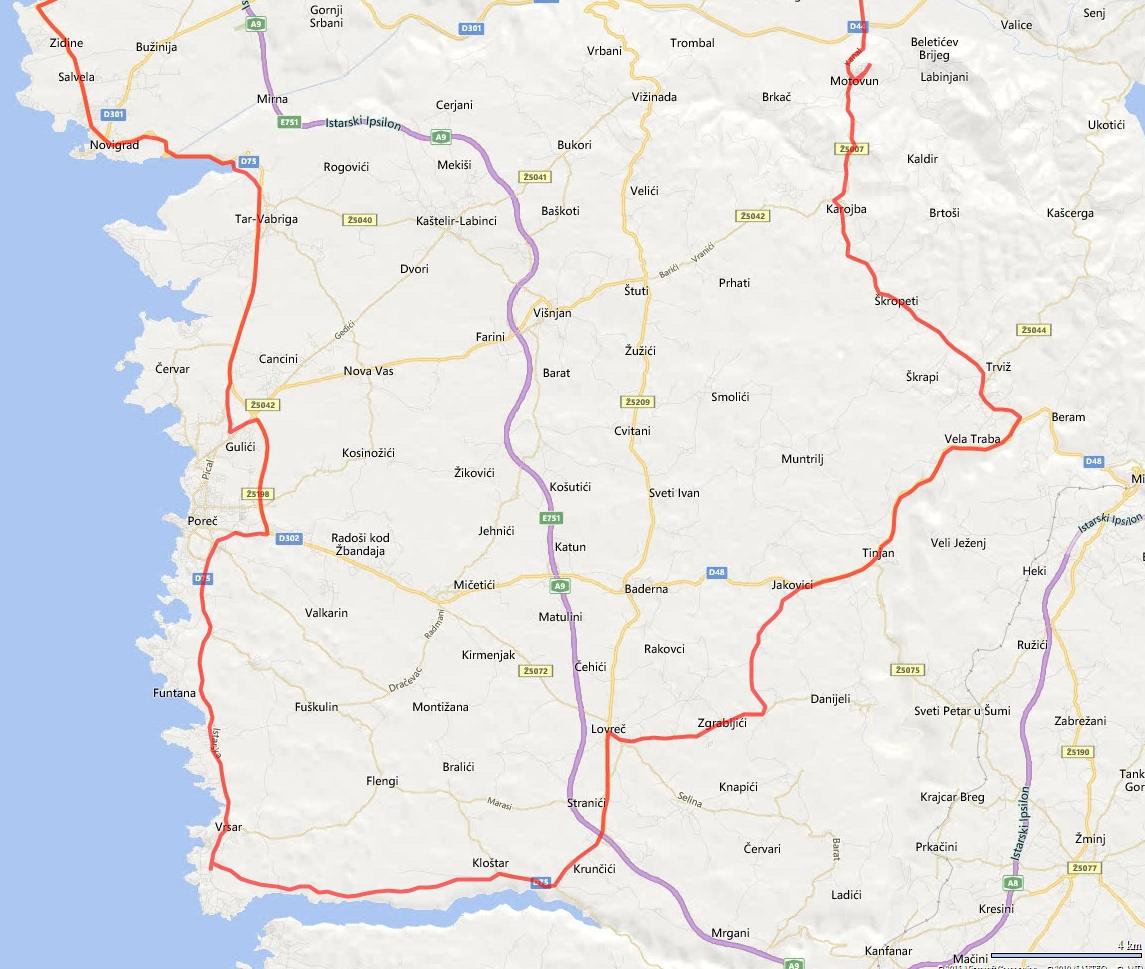 Zemljevid poti Istra 2