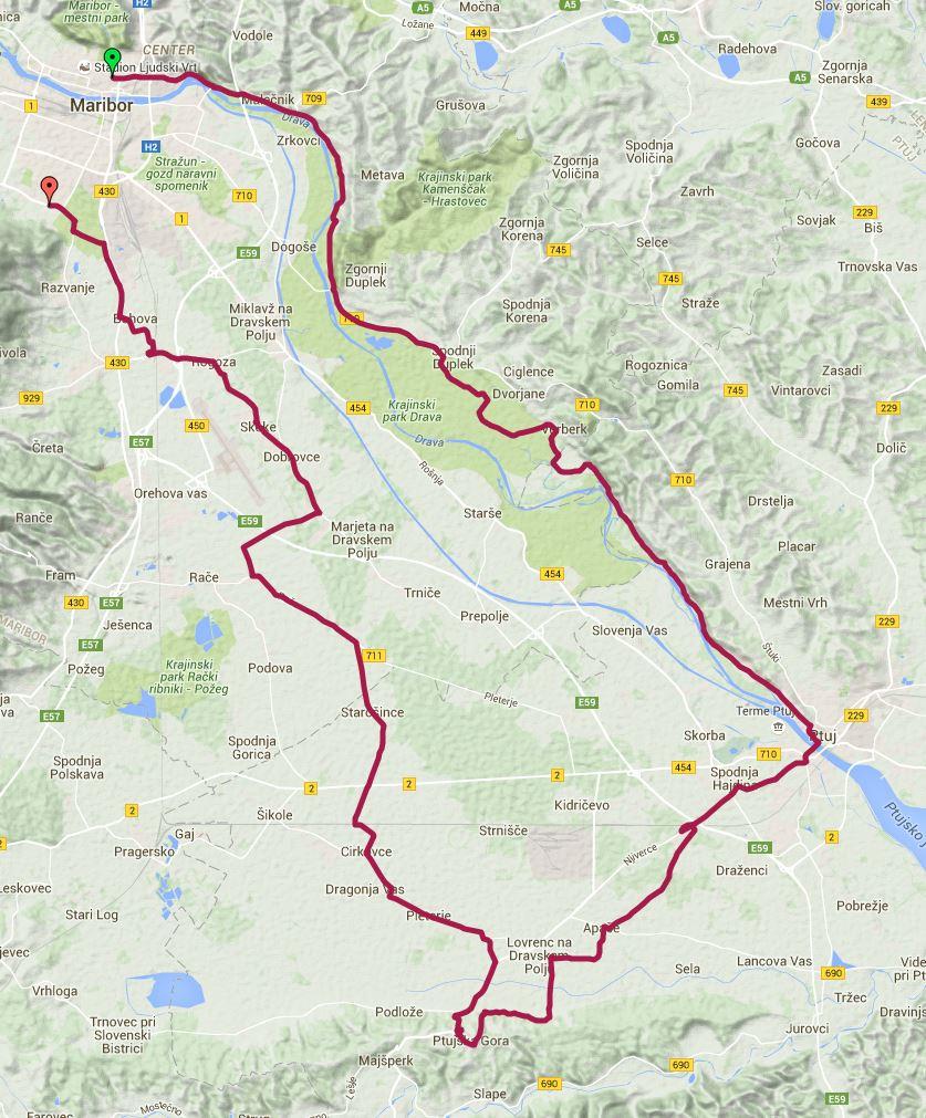 Pot kolesarskega izleta Križem kražem po Dravskem polju