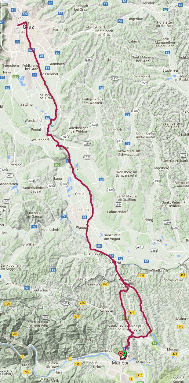 Pot kolesarskega izleta Od Mb do Gradca ov Muri