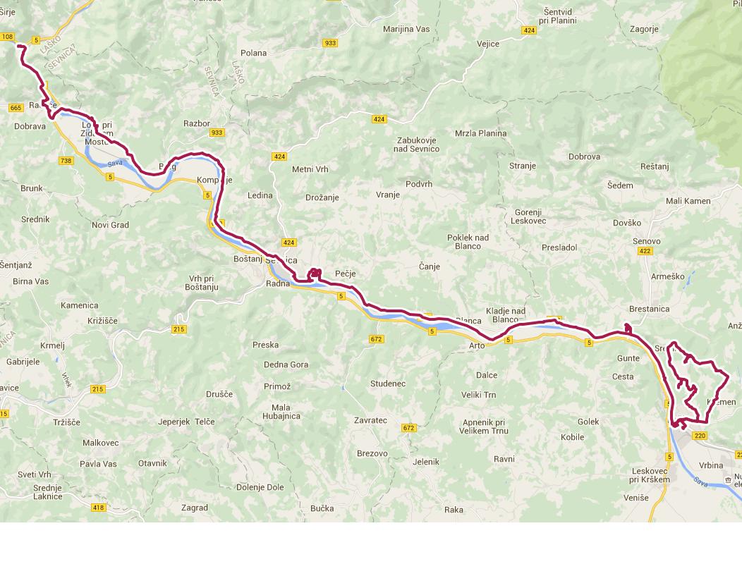 Pot kolesarskega izleta Krško in sremiške gorice